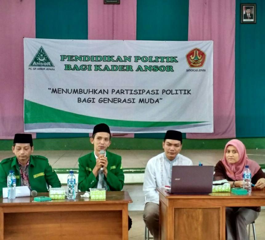 Ketua Ansor Jepara menyampikan Sambutan di acara pendidikan Politik , Jum'at 9/02/2018 bertempat di MWC NU Pecangaan